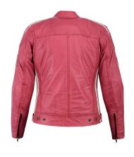 CHAQUETA CAFE RACER PIEL ROSA MUJER